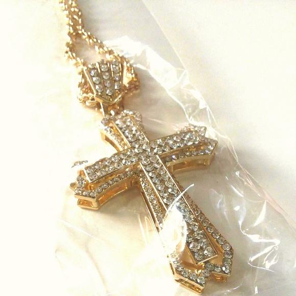 c1269b250e8c4 Iced Out Gold Faux Diamond Cross & Necklace Boutique